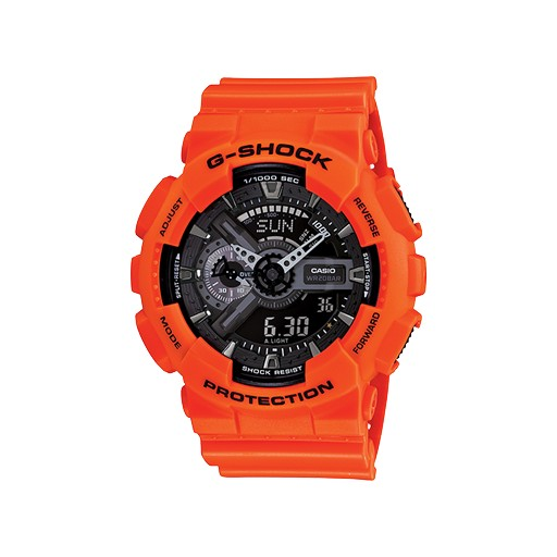 G-Shock G-Shock adds Rescue Orange to its X-Large case designs for a visually powerful look. Set against black motifs and negative LCD display, both the digital and analog-digital models are rich with style.<br />