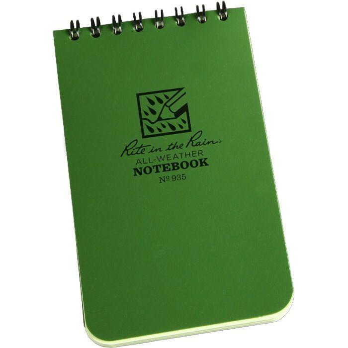 RITE IN THE RAIN Rite in the Rain, Universal Polydura Notebook, 3''x 5'', Olive Drab