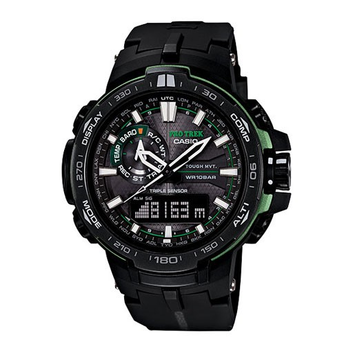 "G-Shock At A Glance<br /> <br /> ""Introducing the newest addition to the PROTREK lineup featuring an analog-digital display and Version 3 Triple Sensor technology. In addition to its fast & precise sensors for taking bearing, altitude, and barometric pressure readings, its a"