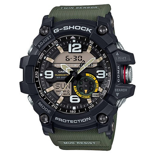 G-Shock Twin Sensor<br /> This is the latest new addition to the MASTER OF G MUDMASTER Series. Mud Resist construction helps to ensure that nothing gets into the watch when down and dirty work takes you deep into the dirt and sludge. Multiple gaskets are used on the pi