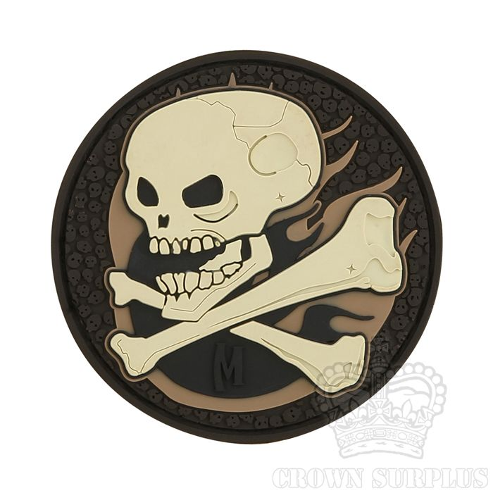 MAXPEDITION Maxpedition, Flaming Skull Patch, PVC, Velcro Back