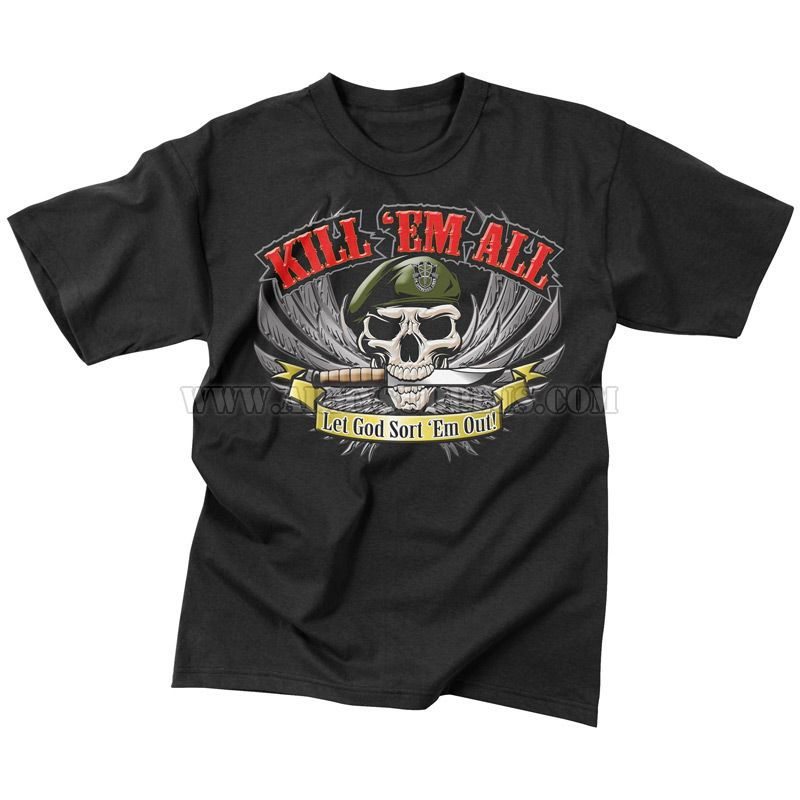 ROTHCO Rothco, Kill Em' All T-Shirt, Skull and Knife