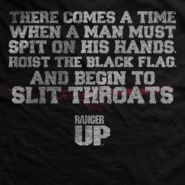 Ranger Up, Men's, Ultra-Thin Vintage, Hoist the Black Flag, Black, T-Shirt