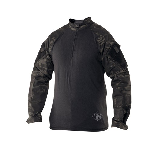 TRU-SPEC TRU-SPEC, Tactical Response Uniform (TRU), 1/4 Zip Combat Shirt, Multi-Cam Black
