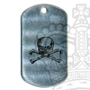 Printed US Type Dog Tag, Skull & Crossbones
