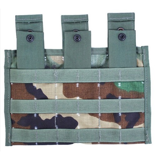 GENUINE SURPLUS Genuine Issue, Molle M4/M16 Triple Pouch, Woodland Camo