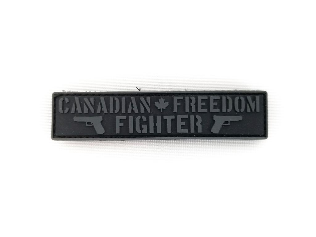 "Freedom Fighter Patch 1""x4""  Black/Grey"