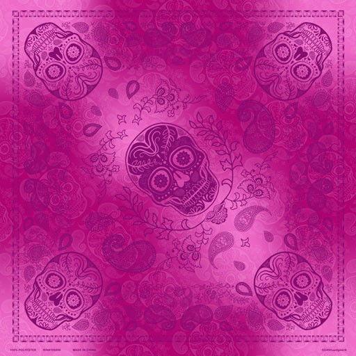 ZAN ZAN Headgear, Deluxe Bandanna, Pink & Purple Skull Paisley