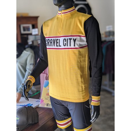 Gravel City Custom Wool Jersey, Mustard/Black/Red/White,