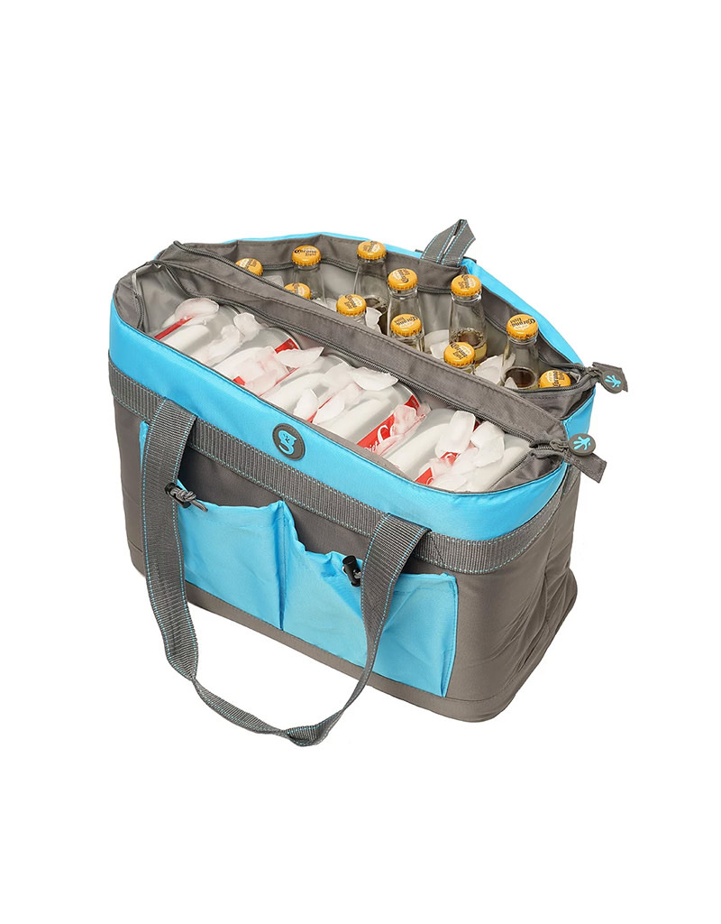geckobrands 2 Compartment Tote Cooler Heather Grey Holds Up to 40 Cans or 24 Bottles