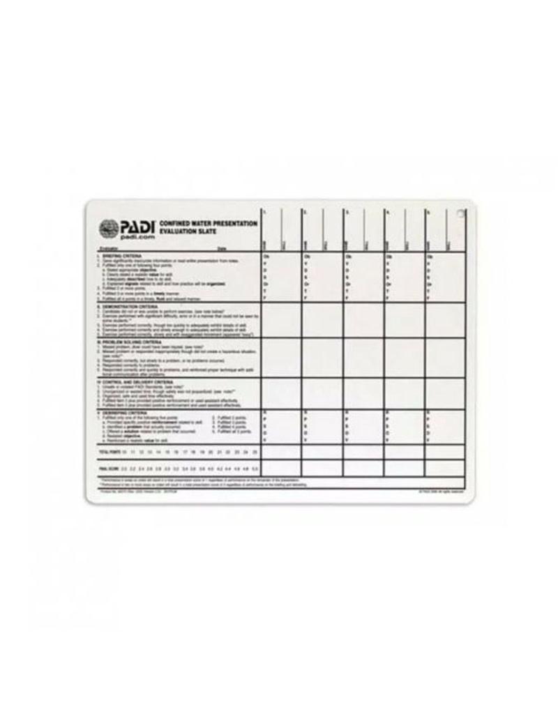 PADI PADI Confined Water Presentation Evaluation Slate