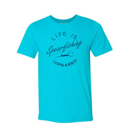 Born of Water Born of Water Life is Spearfishing SS Tahiti Blue T-Shirt