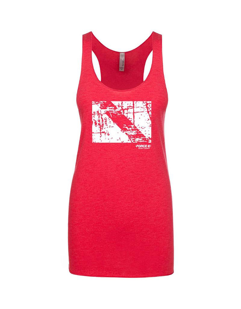 Stoked on Salt SOS Tank Force-E Dive Flag Vintage Red