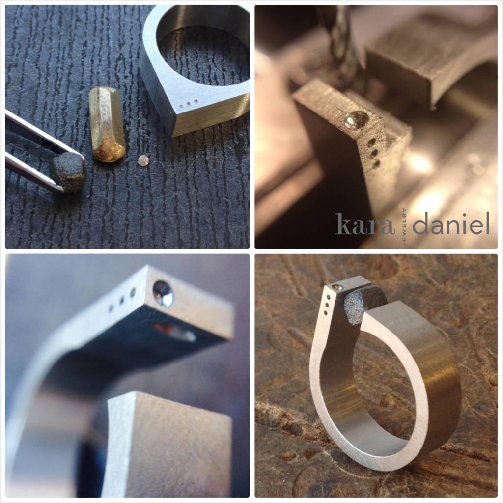 asymmetrical tension-set raw diamond