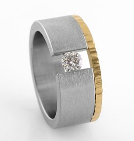 'the one' tension-set stainless + 22k gold . ring
