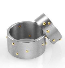 'riveted' narrow band . ring