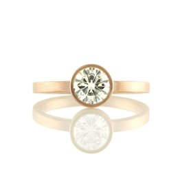 the rose gold solitaire bezel-set . ring
