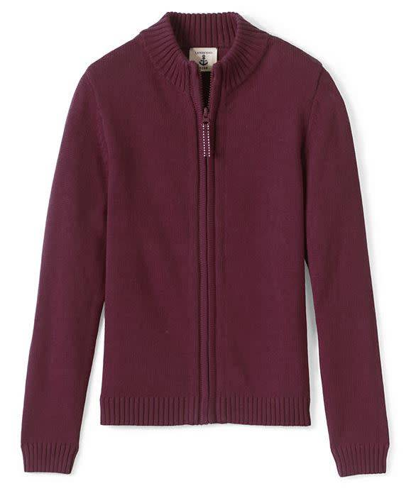 Lands End LE Girls Zip Front Drifter Sweater