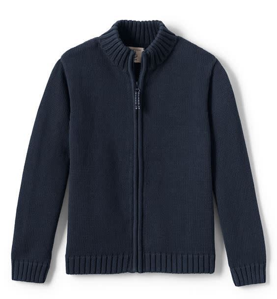 Lands End LE Boys Zip Front Drifter Sweater