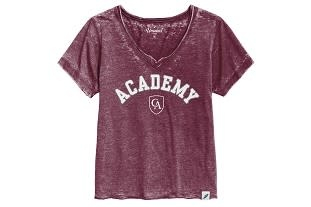 League 91 League Ladies V-Neck Burnout Maroon Tee