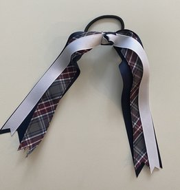 Schoolbelles FBE120 Pony Streamer- White/Plaid/Navy