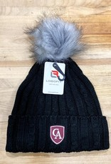 LogoFit Logofit Alps Black knit fur pom hat