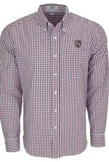 Vantage Vantage Men's Easy-Care Gingham Check Shirt with shield #1107