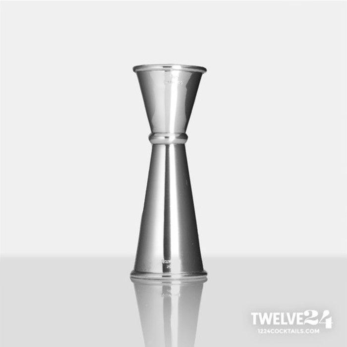 Twelve24 Japanese-Style Jigger, 1oz x 2oz Mirror Stainless