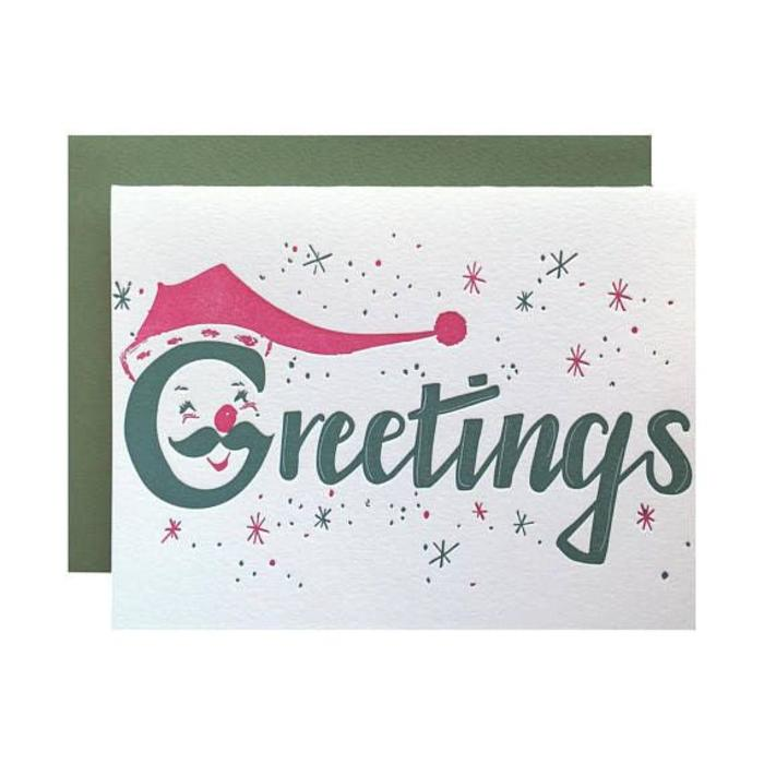 "Violet Press ""Santa Greetings"" Letterpress Greeting Card"
