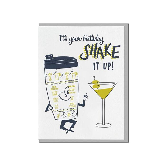 "Violet Press ""Shake It Up"" Letterpress Greeting Card"
