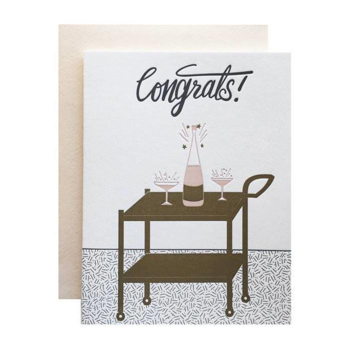 "Violet Press  Bar Cart ""Congrats"" Letterpress Greeting Card"