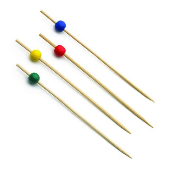 Bamboo Picks, Assorted Colors (Red, Yellow, Green, Blue) 100 count