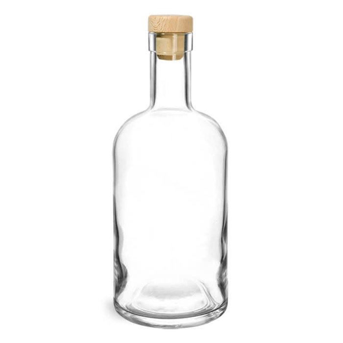 Clear Glass Bar Bottle w/ Wood Cap Cork, 375ml