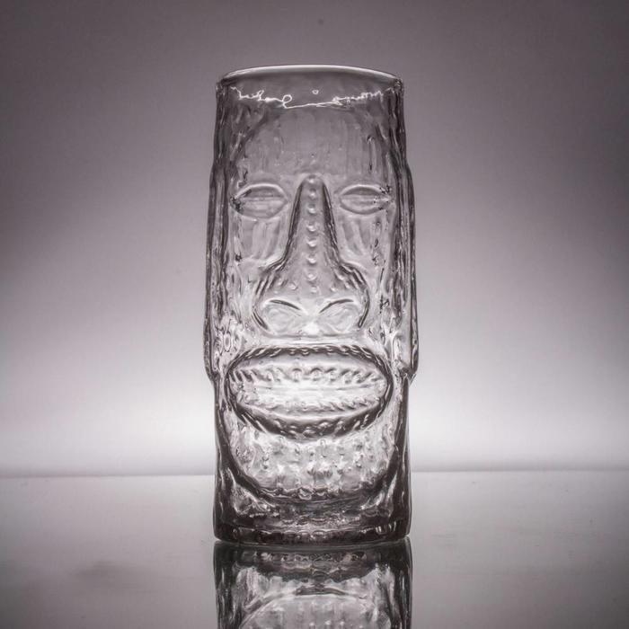 Hand-Blown Glass Tiki Mug, Moai