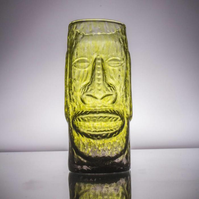 Hand-Blown Glass Tiki Mug, Moai