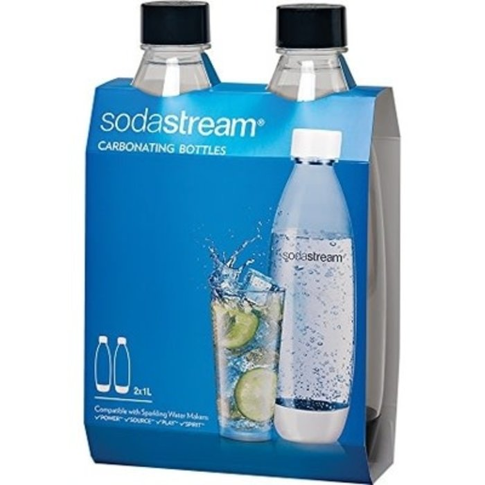 Sodastream Carbonating Bottles - 1L Slim, Black (twinpack)