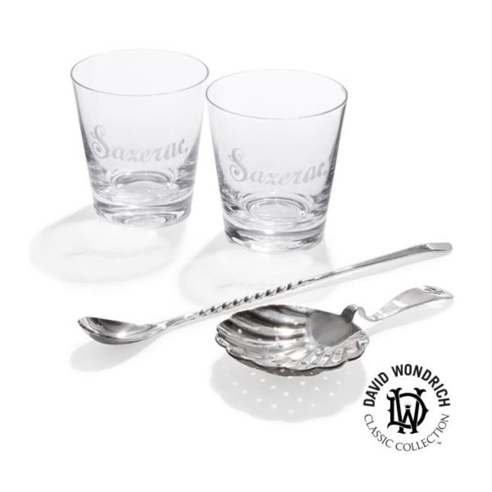 David Wondrich Sazerac Kit, 2 glasses, Spoon & Julep Strainer