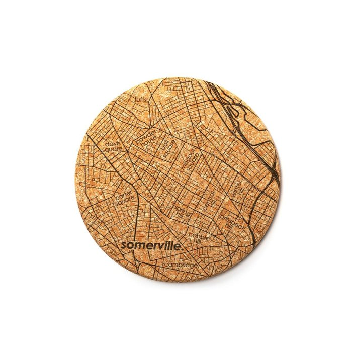 Well Told Maps Cork Coaster Pair - Somerville