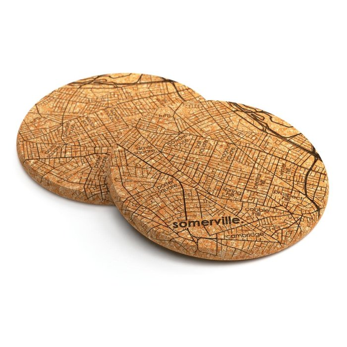 Maps Cork Coaster Pair - Somerville