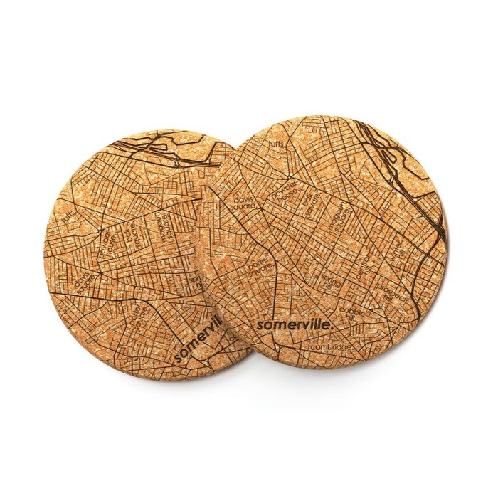 Home Town Maps Cork Coaster Pair - Somerville