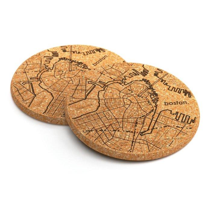 Home Town Maps Cork Coaster Pair - Boston