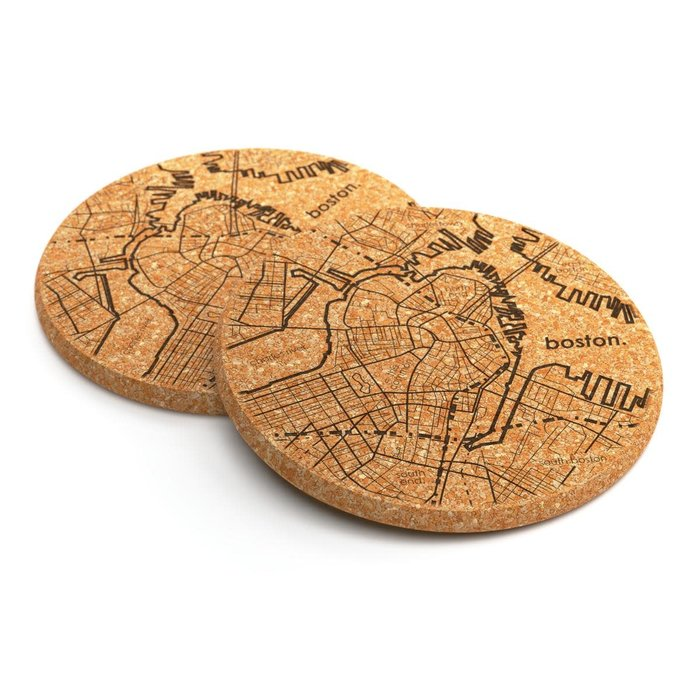 Well Told Maps Cork Coaster Pair - Boston