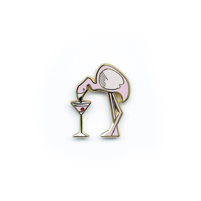 Flamingo Cosmo Pin, Enamel