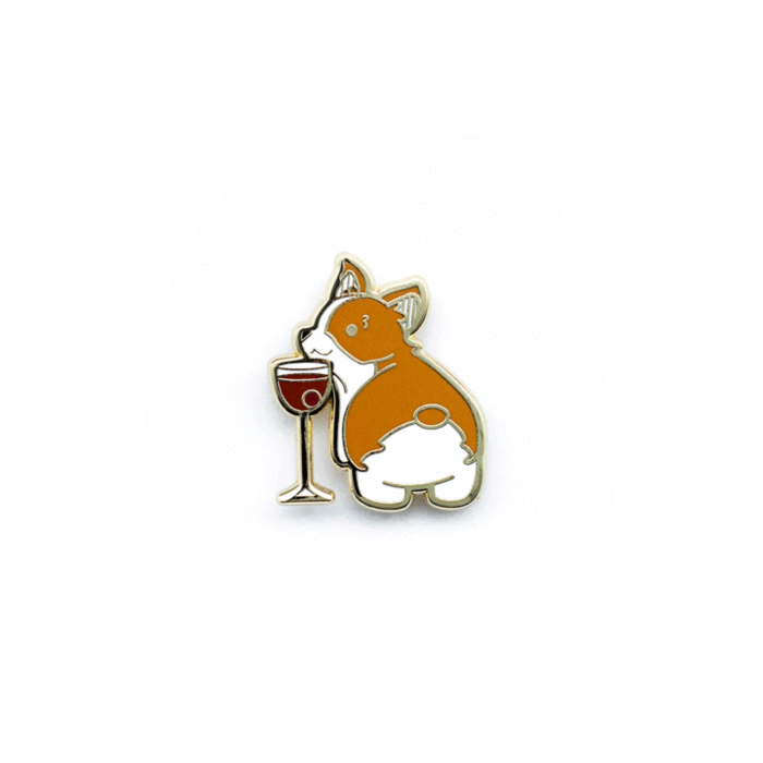 Corgi in Manhattan Pin, Enamel