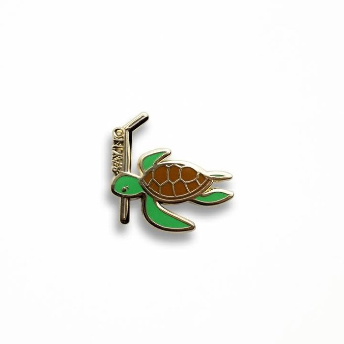 Verbal Turtle Pin, Enamel