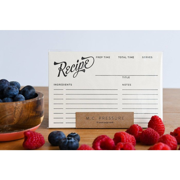 MC Pressure Letterpress Recipe Cards, 13pk