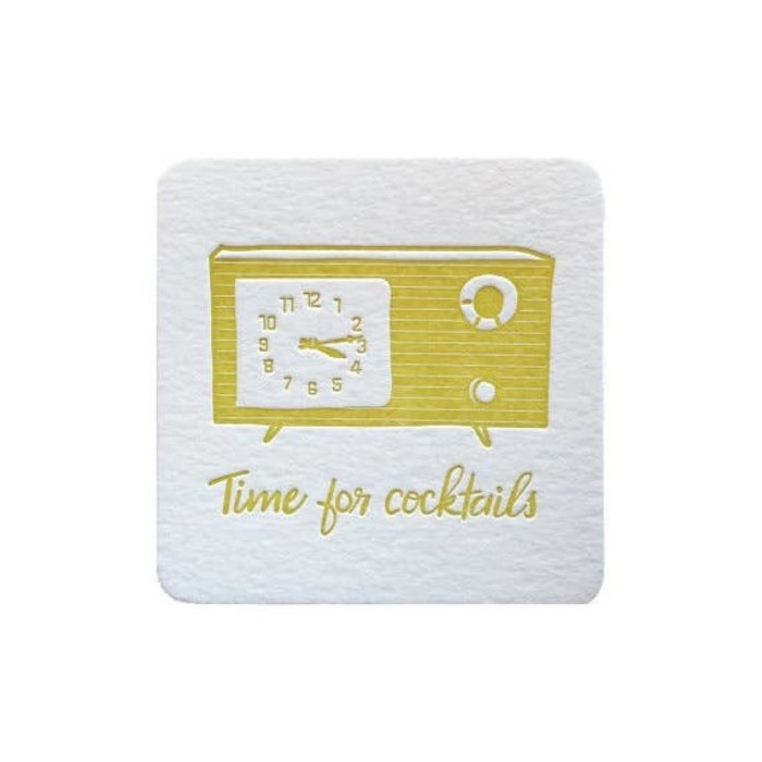 Violet Press 'Cocktail Time' Letterpress Coasters, set of 8
