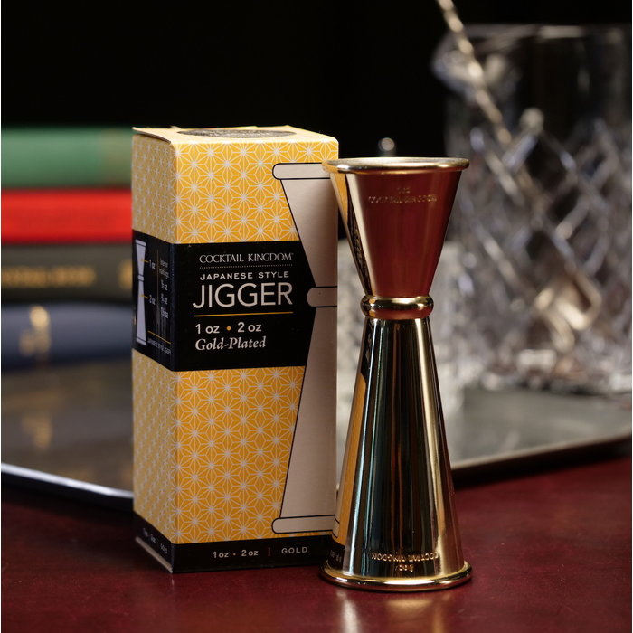 Cocktail Kingdom Japanese-Style Jigger, Gold Plated 1oz x 2oz