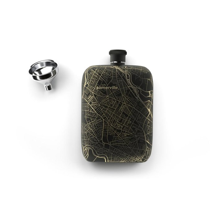 Home Town Maps Flask - 6oz Matte Black, Somerville