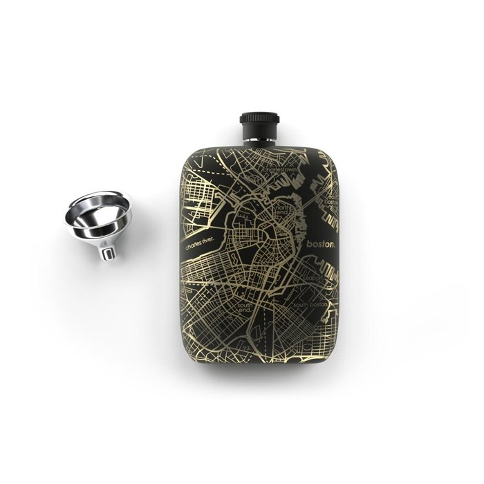Maps Flask - 6oz Matte Black, Boston
